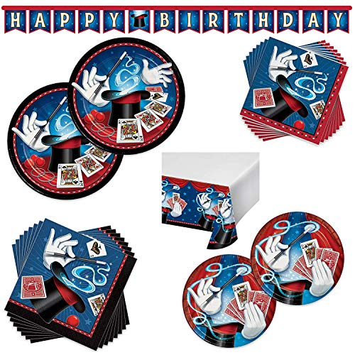 Magicians Magic Birthday Party Supplies Bundle - 16 Guest - Dinner Plates, Dessert Plates, Lunch Napkins, Beverage Napkins, Table Cover & Banner