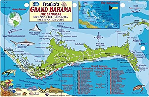 Grand Bahama Island Dive Map & Reef Creatures Guide Franko Maps ...