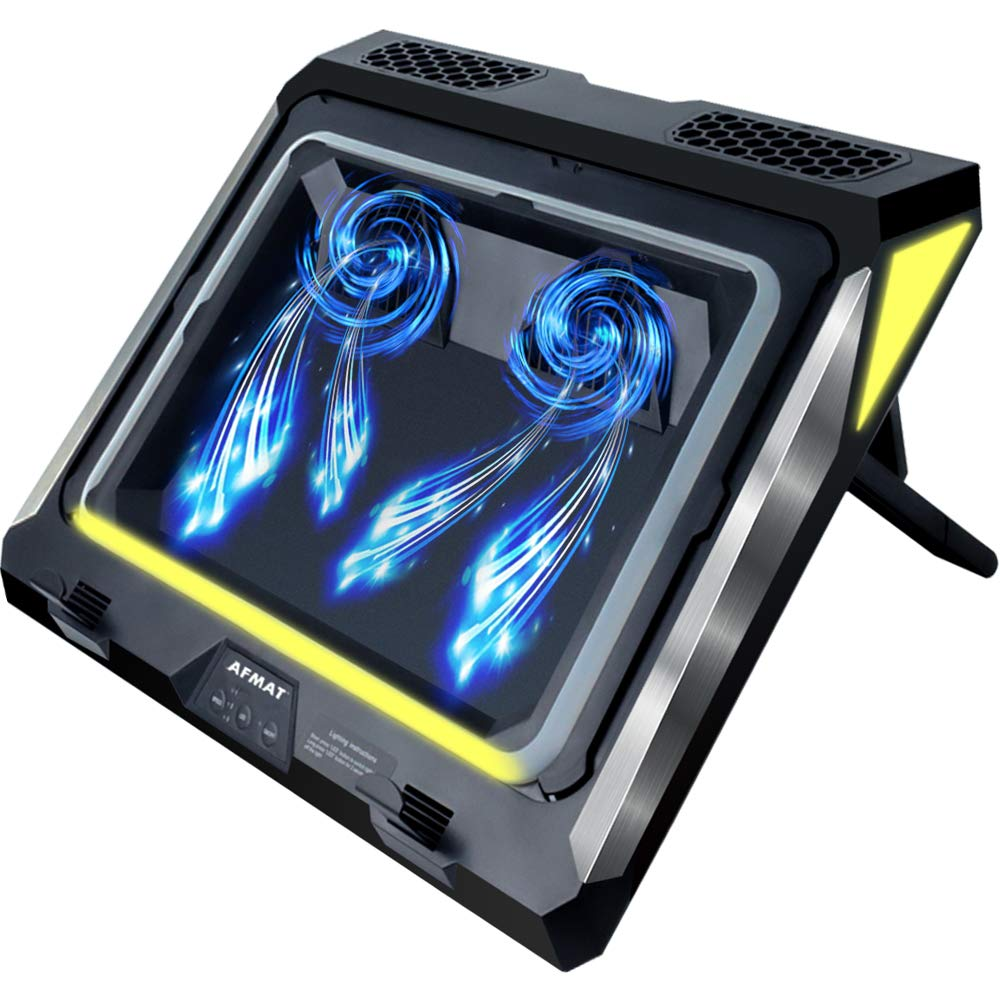 Gaming Laptop Cooling Pad, 4500RPM Strongest Laptop Cooler 17.3 inch, Laptop Cooling Stand with Faster Heat Dissipation, Colorful Lights, Adjustable Mount Stand, Temperature Drops by 20-30 Degrees