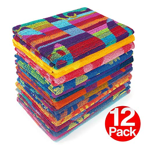 Kaufman - Terry Beach & Pool Towel 12-Pack of Assorted Designs - 30in x 60in (104700-12PK)