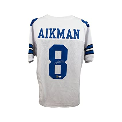 76058a291e4 Image Unavailable. Image not available for. Color  Troy Aikman Autographed  Dallas Cowboys Custom White Football Jersey - JSA COA