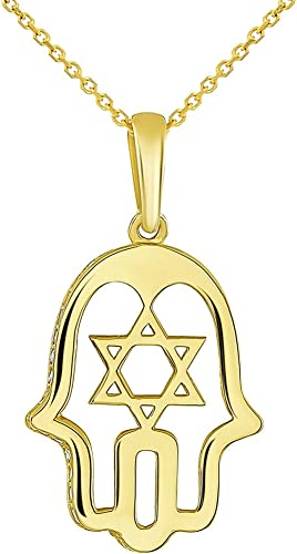 Solid 14K Yellow Gold Open Hamsa Hand of God Charm Hamesh Pendant