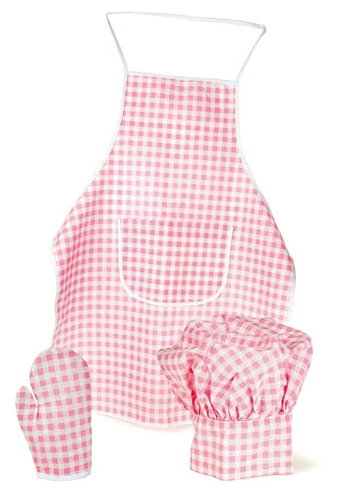 Egmont Toys Schürzen-Set, Kinderschürze, Kinder-Kochschürze, kariert, in pink-weiß