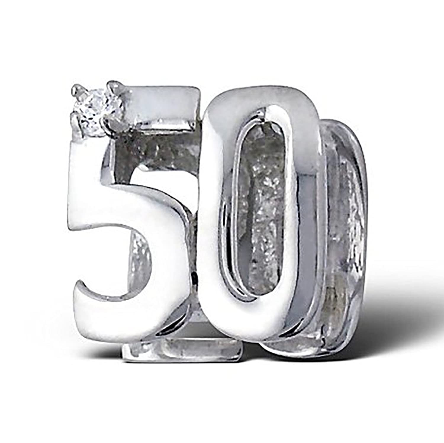 ".925 Sterling Silver ""Number 50 Fifty 50th Birthday"" Charm Bead Compatible with all European Charm Bracelets"