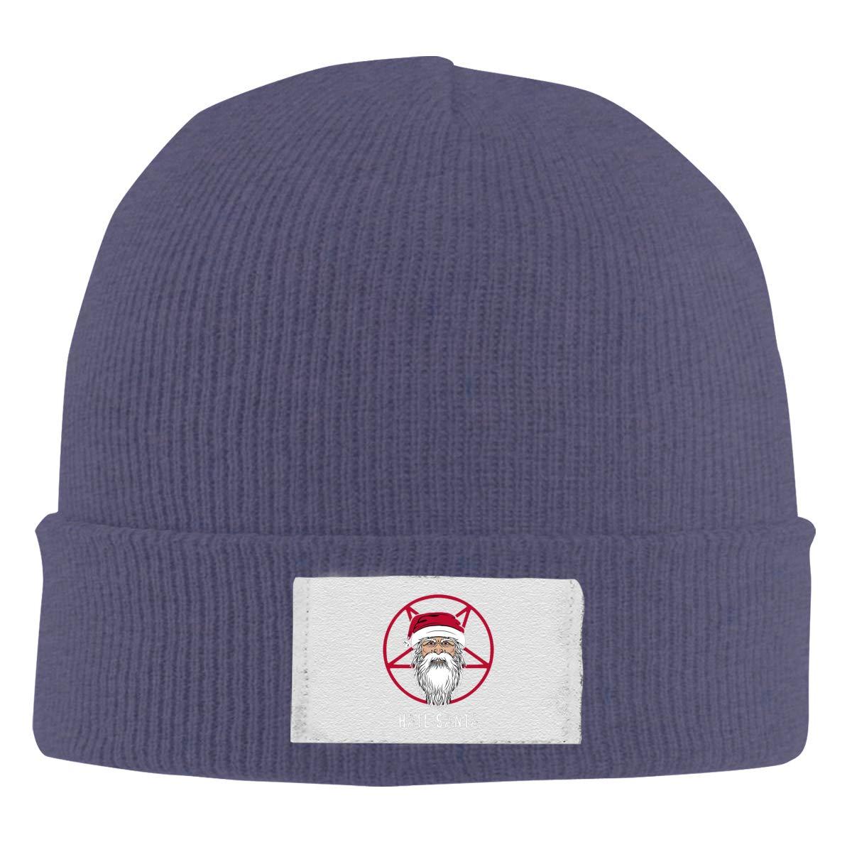 Stretchy Cuff Beanie Hat Black Dunpaiaa Skull Caps Hail Santa Winter Warm Knit Hats
