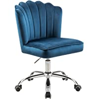 MOJAY Velvet Task Chair Home Office Chair Adjustable Swivel Rolling Vanity Chair with Wheels for Adults Teens Bedroom…