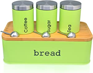 Bread Box For Kitchen, Stainless Steel Bread Bin with Cutting Boards,Storage Container For Loaves,Boudin Bakery,Baguette,Bread holder for Baked Bread with Set of 3 Canister- Apple Green (Green)