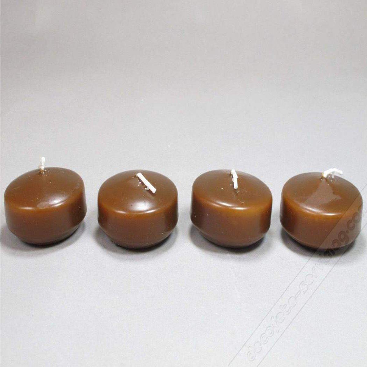 Visiodirect Boite de 4 Bougies flottantes Coloris Marron - 2, 8 cm x 4, 5 cm
