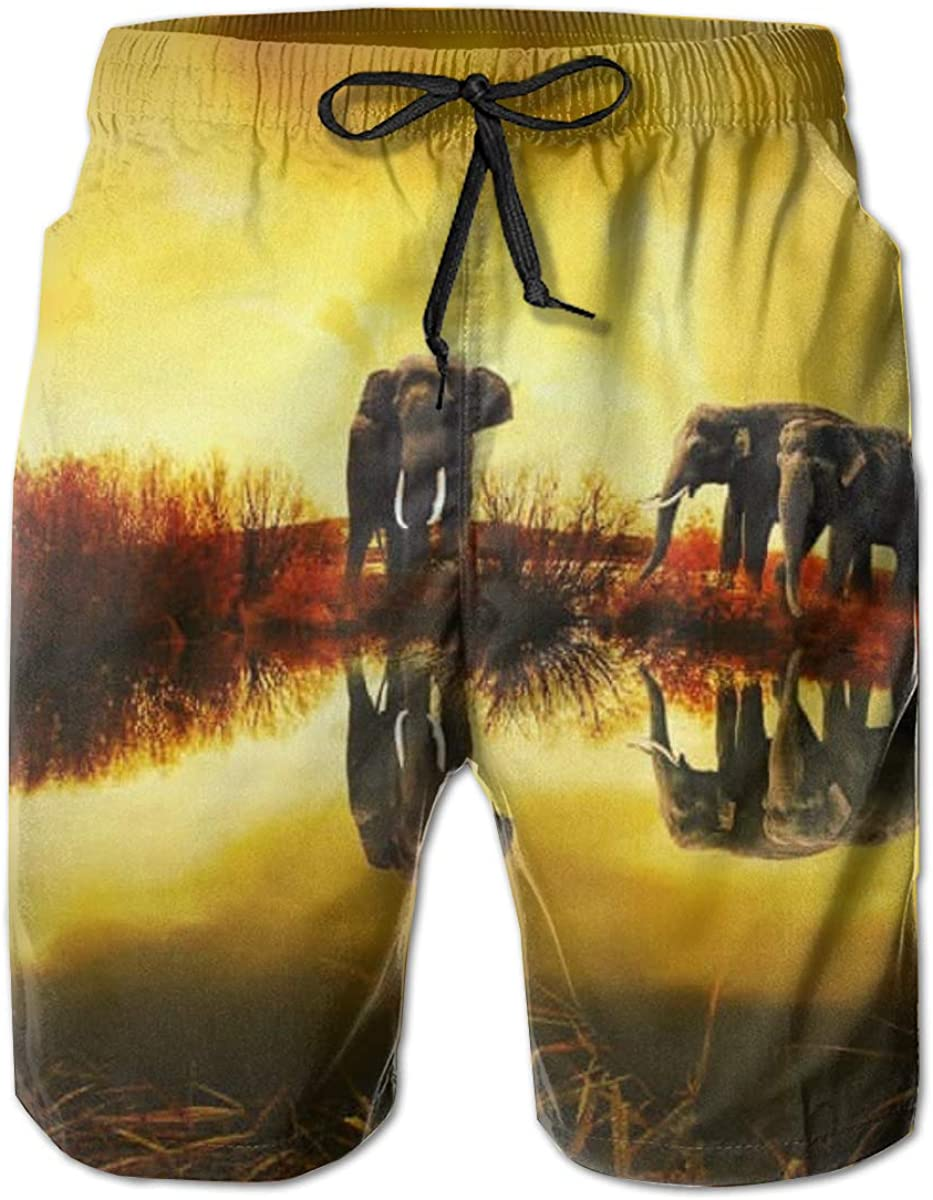 FUN Oven Mitts Thailand Elephant Sunset Nature Mens Beach Shorts Trunks Quick Dry Summer with Mesh Lining Pockets