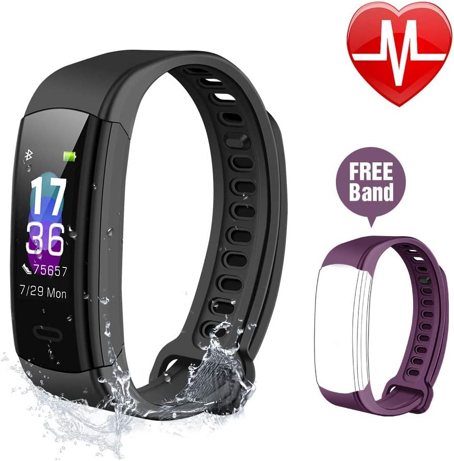 ISPIRITY Fitness Tracker with Heart Rate Monitor, Fitness Watch Activity Tracker, Smart Watch Step Counter Sleep Monitor, Pedometer Watch Men Women Kids Color Screen, IP68 Waterproof Black Purple