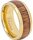 9mm Titanium with Gold Plating and Hawaiian Koa Wood Inlay Wedding Band Ring For Men Or Ladies