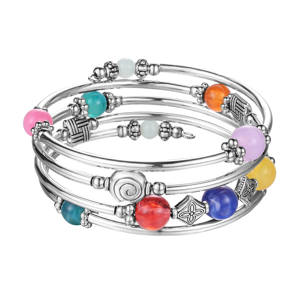 Beaded Pearl Bangle Wrap Bracelet - Fashion Bohemian Jewelry Multilayer Charm Bracelet with Thick Silver Metal Beads, Gift for Women and Girls (Colorful)