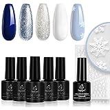 Beetles Christmas Gel Nail Polish Set- Glitter White Gel Polish Kit Soak Off LED Nail Lamp Blue Silver Gel Polish Gift…