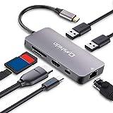 USB Type C ハブ Onshida USB C ハブ 7in1 USB C ドッキングステーション LAN 1000Mbps 4K HDMI 出力 PD充電対応 USB3.0ハブ SD/Micro SD カードリーダー HDMI変換アダプタ MacBook/MacBook Pro/ChromeBookなど対応(アルミニウム グレー)