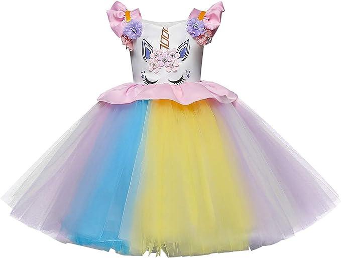 TENDYCOCO Trajes de niña Vestido de Princesa Diseño de Unicornio ...