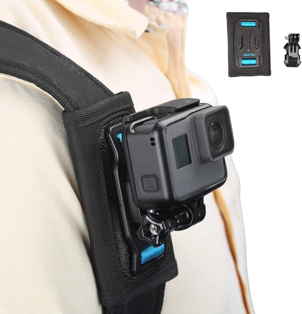 TELESIN Bag Backpack Shoulder Strap Mount with Adjustable Shoulder Pad and J Hook Strap Holder Attachment System for GoPro Hero 8 Hero 7 Hero 6 5 4 3 Osmo Action Session Insta 360 Camera