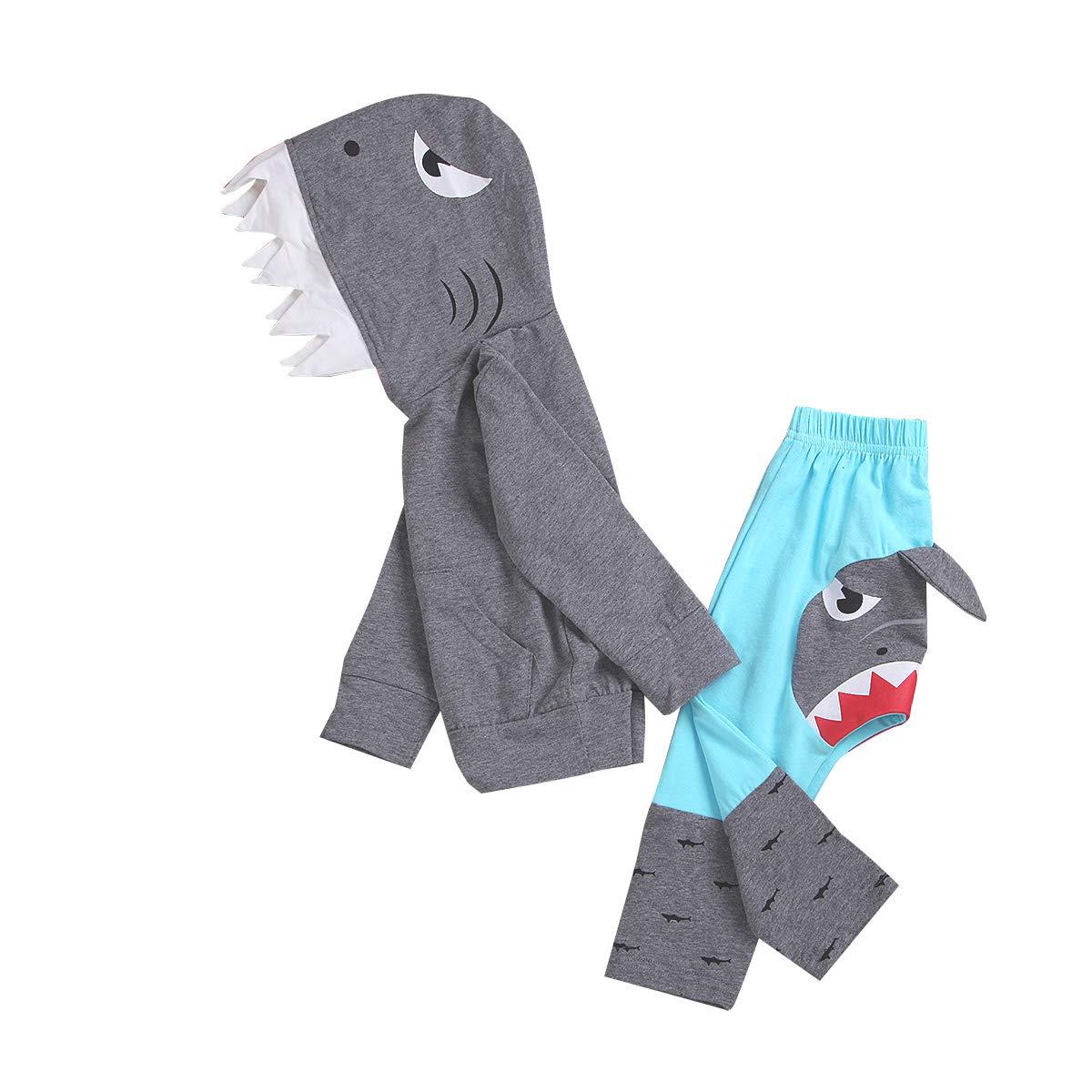 C&M Wodro Unisex Baby Autumn Winter Shark Hooded Sweatshirt Boys Girls Hoodies Kangaroo Muff Pockets & Shark Fin (Gray-Set, Size 120: 3-4 Years) by CM C&M WODRO