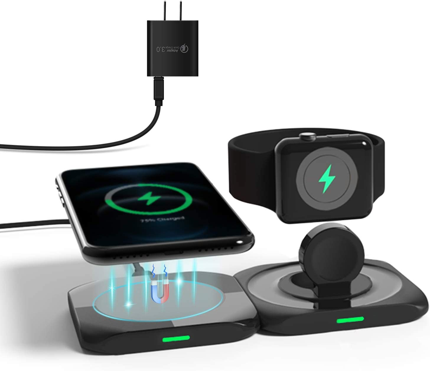 CIVPOWER 3 in 1 Charging Station,Wireless Magsafe Charger Compatible with Apple Watch Series,AirPods 2/Pro,Magnetic Wireless Charging Pad for iPhone 12/Mini/Pro/Pro Max or Qi Devices(with 18W Adapter)