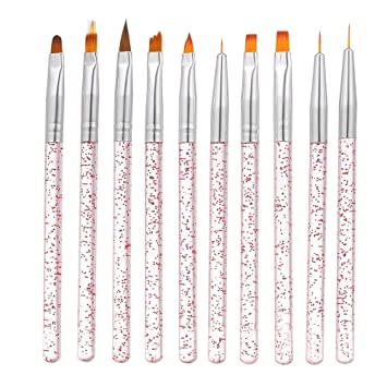 Nagelkunst Detail-Pinsel Malerei Zeichnung Pinselset 10 Stück Nagel Pinsel Set