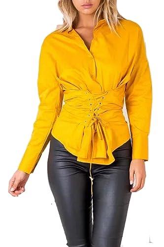 La Mujer Casual De Manga Larga Sólido Vendaje Blusa Camisa Cuello V Corset Top Tee