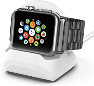 Silicone Charging Stand for Apple Watch Series 6/SE/5/4/3/2/1-38mm/40mm/42mm/44mm Desktop Holder Cable Management Charging Dock for Apple Watch Charger Clip White