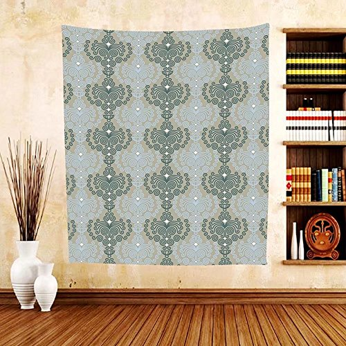 Gzhihine Custom tapestry Decorative Tapestry Abstract Art Damask Decor Floral Ornament Background Wallpaper Pattern Print for Bedroom Living Room Dorm Blue and - In Philadelphia Outlets Pa