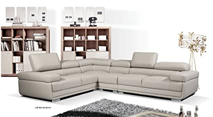 Amazon Com Esf 2119 Light Grey Leather Sectional Kitchen Dining
