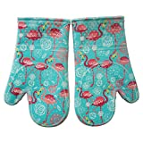 Oven Mitts Kitchen set Heat Resistant to 500 F With Transparent clear Silicone set of 2, Nice Flamingo Printing Cotton Lining, Oven Gloves for Cooking, Baking, Machine Washable Women and Men Aqua