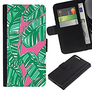 LASTONE PHONE CASE / Lujo Billetera de Cuero Caso del tirón Titular de la tarjeta Flip Carcasa Funda para Apple Iphone 6 PLUS 5.5 / Leaves Jungle Forest Nature