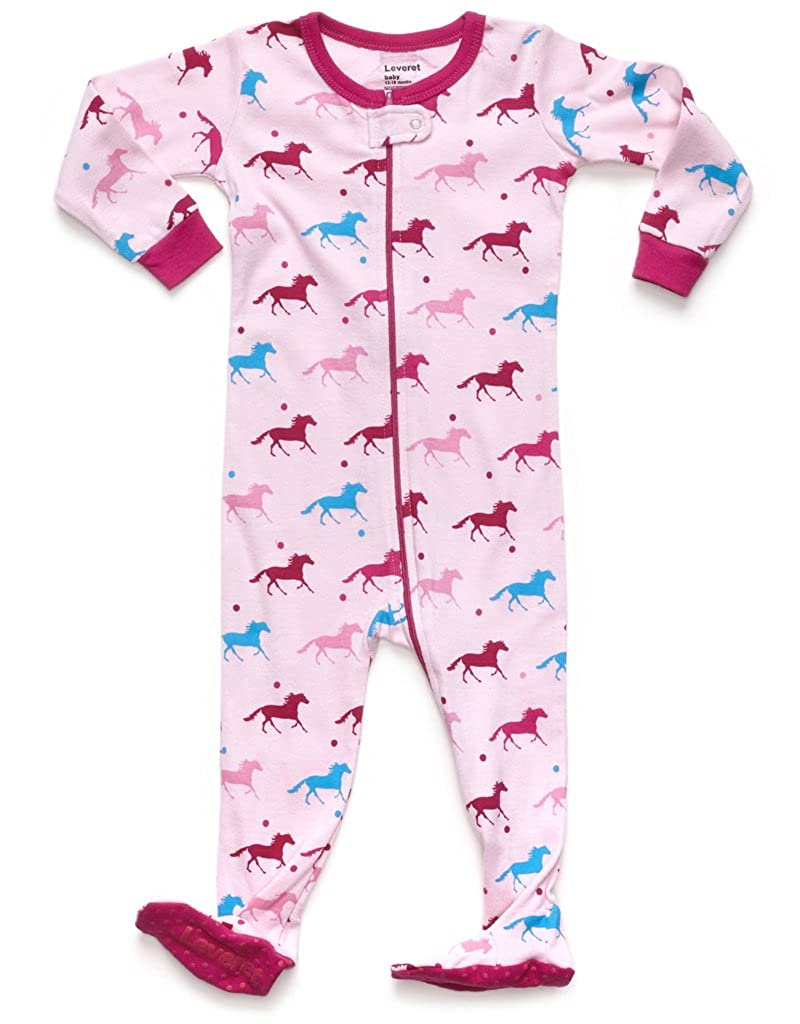 6 Months-5 Toddler Leveret Baby Girls Footed Pajamas Sleeper 100/% Cotton Kids /& Toddler Pjs Sleepwear