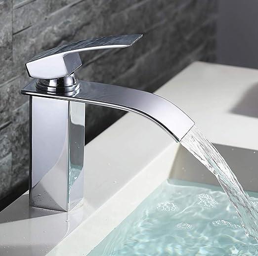 Homelody Robinet Lavabo cascade Mitigeur salle de bains Bec Aplati  Rectangulaire en Lation Design Elégant Robinetterie vasque-bas