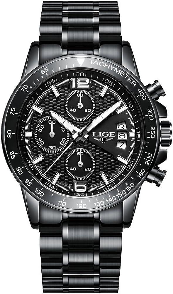 Relojes para hombres, Hombres de negocios de lujo Vestido de acero inoxidable Reloj de pulsera impermeable Deportes militares reloj de gran cara Casual cronógrafo números romanos analógicos Dial negro