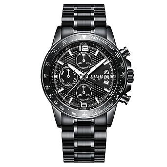 Relojes para hombres, Hombres de negocios de lujo Vestido de acero inoxidable Reloj de pulsera impermeable Deportes militares reloj de gran cara Casual ...