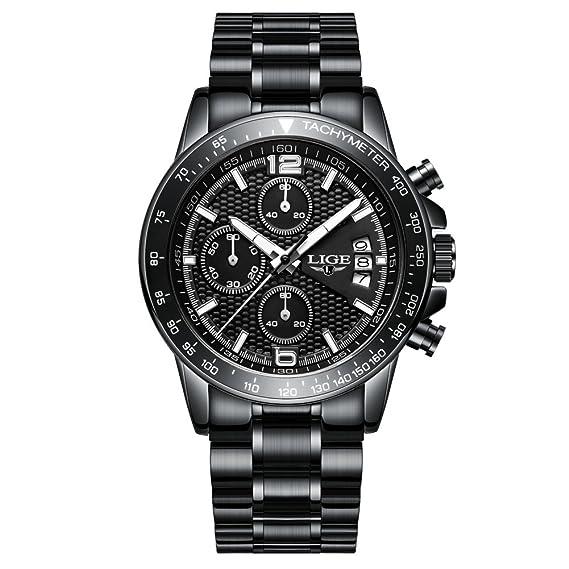 Relojes para Hombres LIGE 2018 Reloj de Lujo de Acero y Cuarzo Regalos de Moda Correa