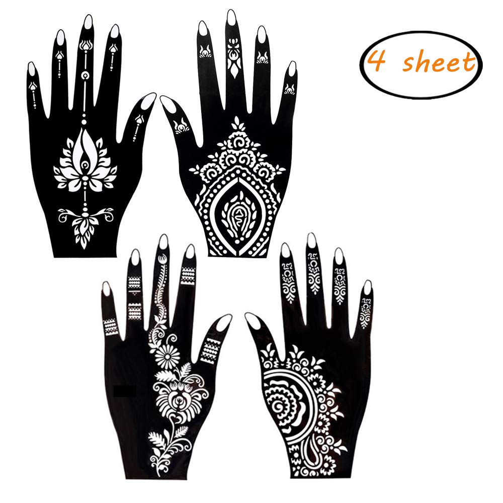 picture about Henna Templates Printable named Get 4 sheets henna tattoo stencil self adhesive eye-catching