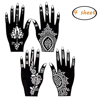Amazon.com : 4 Sheets Henna Tattoo Stencil Self Adhesive Beautiful ...