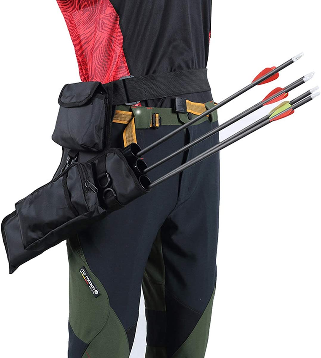3 Tube Hip Back Adjustable Waist Belt Bow Quiver Archery Arrows Holder Bag