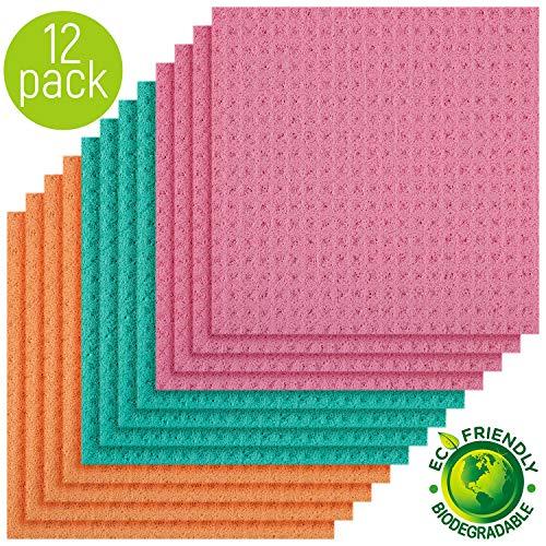 - Magic Clean Cellulose Sponge Cloths 4 Packs of 3 (Total 12 Sponge Cloths) (Assorted Colors)