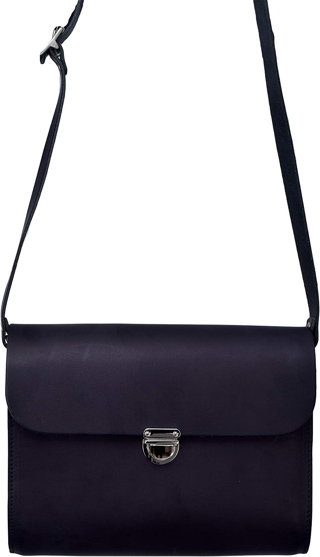A to Z Leather Borse a mano classiche a tracolla in pelle da donna grandi e piccole fatte a mano. Offri iniziali gratuite Grande - Nero Vintage