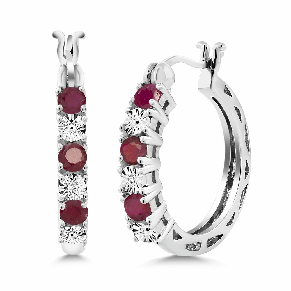 Gem Stone King 925 Sterling Silver Red Ruby and White Diamond Accent Women's Hoop Earrings (0.83 Cttw, 22MM = 0.85 inches Diameter)