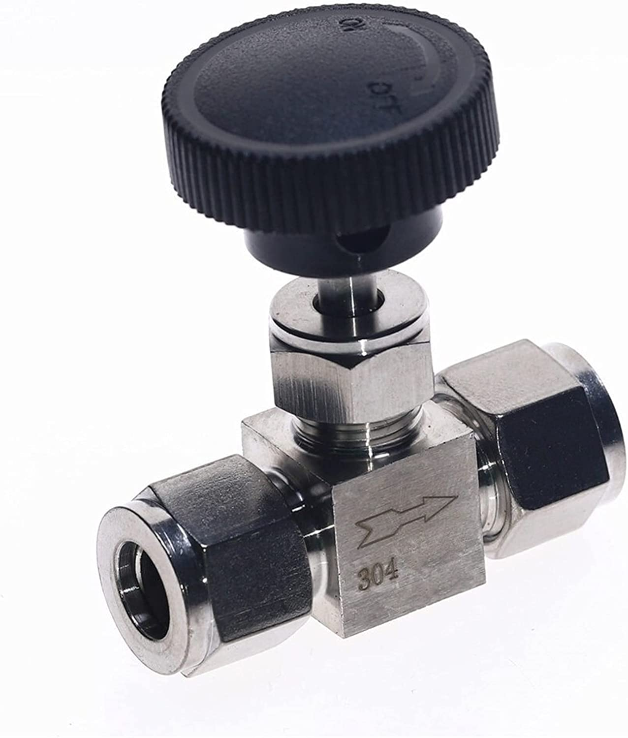 VALVE STAINLESS STEEL ADJUSTABLE NEEDLE BALL VALVE FOR WATER OIL AIR GAS FUEL LINE SHUTOFF (SIZE : 4MM)