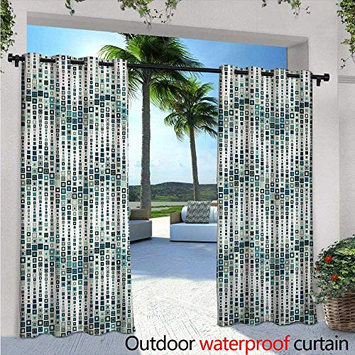 (BlountDecor Geometric Indoor/Outdoor Single Panel Print Window Curtain Wave Shape Geometric Figures Color Tile Mosaic Artistic Composition with Squares Silver Grommet Top Drape W108 x L96 White)