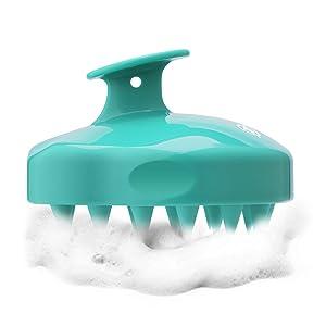Shampoo Brush Hair Scalp Massager, FReatech [Wet & Dry] Hair Scalp Massage Brush Soft Silicone Comb for Men, Women, Kids and Pets - Green
