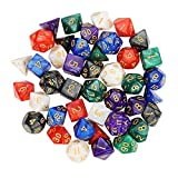 Outee 6 x 7 (42 Pieces) Polyhedral Dice Set 7-Die Series Dungeons and Dragons DND MTG RPG D20 D12 D10 D8 D6 D4 Game Dice Sets with Free Pouches