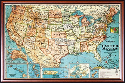 (FRAMED Perfect For Push Pins USA Map Vintage Look 20x28 Poster Dry Mounted in Executive Series Walnut Wood Frame With Gold Lip - Crafted in USA)