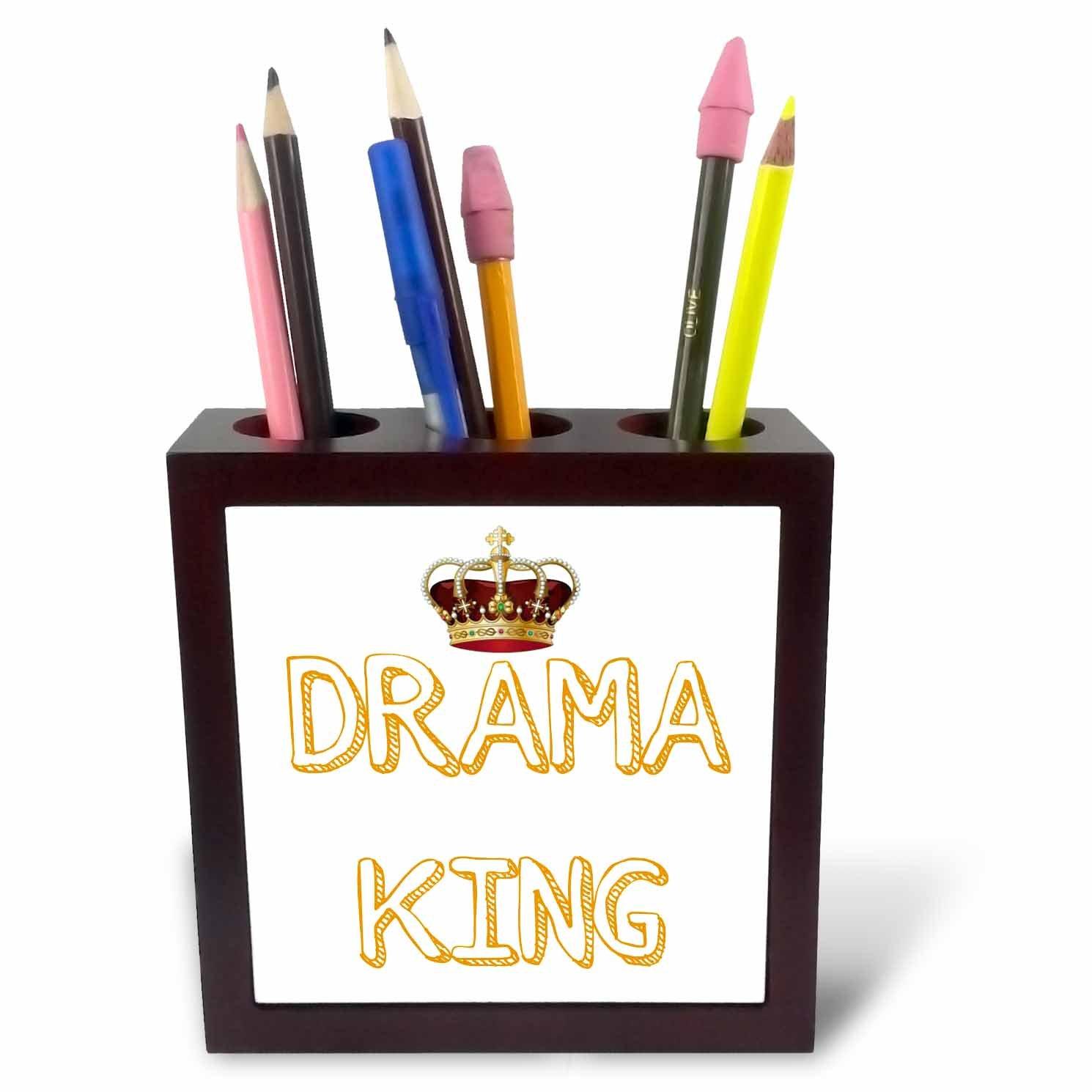 3dRose ph_220123_1 - azulejos Soporte para bolígrafo de azulejos - (12,7 cm), diseño de Drama King con una imagen de corona beed35