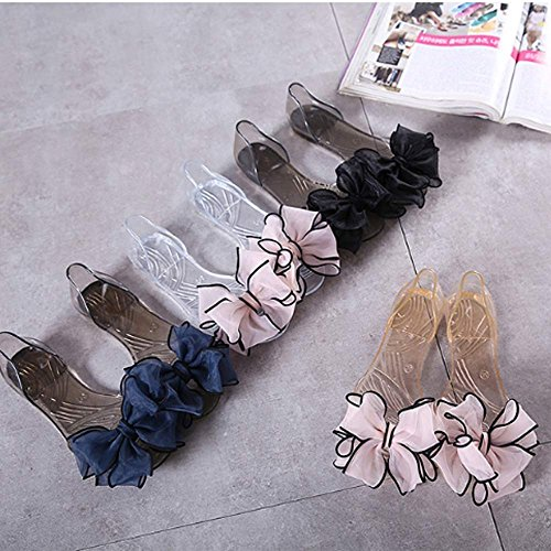 Women Beach Woman Ladies Summer White Shoes GL Flats Casual 1936 Sandals Jelly Pink FL Sweet Bowknot LIURUIJIA Shoes Transparent Crystal 7wxnqEgFx1