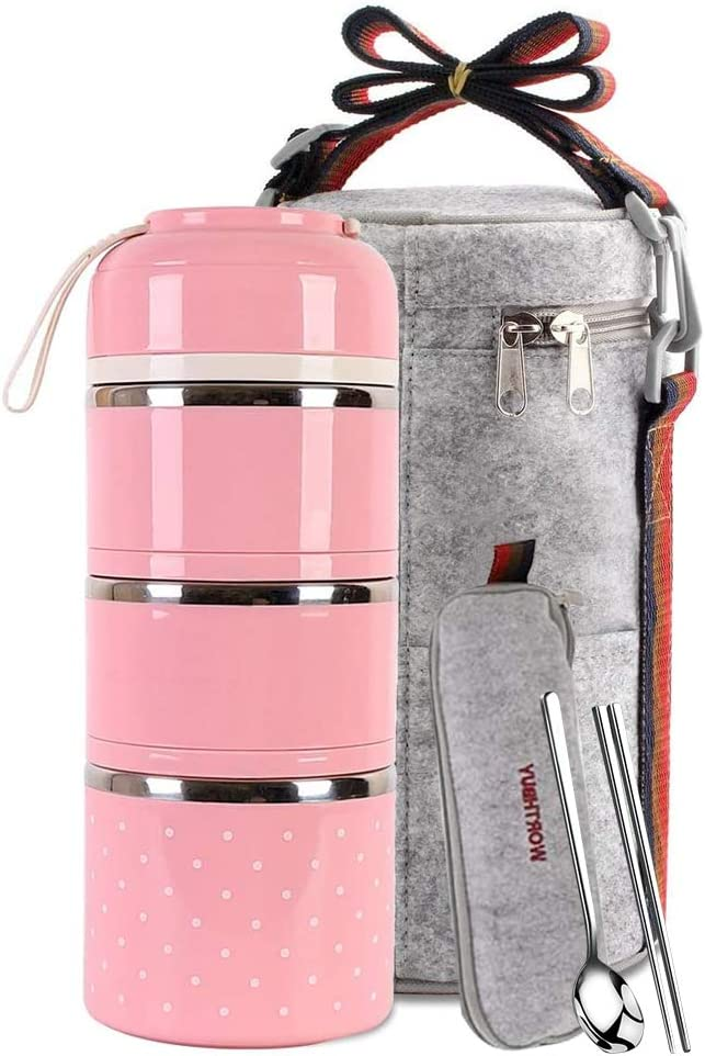 Lunch Box Stainless Steel Food Containers 3 Stackable Square Bento Box with Insulated Lunch Bag Spoon and Fork Set for School Office Or Picnic (Pink)