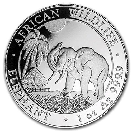 2017 CF Somalian 1 oz Silver African Elephant Coin 999 100 Shillings Brilliant Uncirculated New