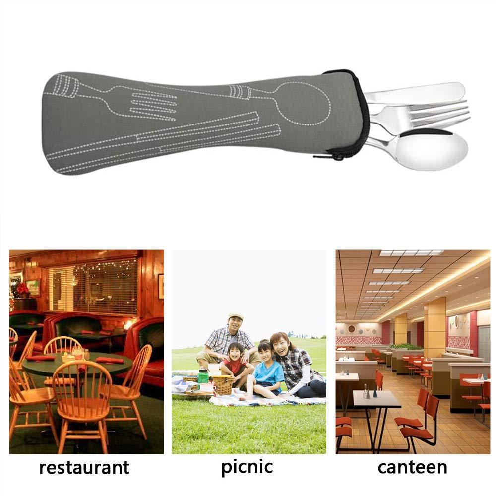 Ikando Edelstahl Essbesteck Besteck Campingbesteck Reisebesteck Camping Outdoor Picknick mit Einem Mini Keychain Flaschen/öffner Service f/ür 1